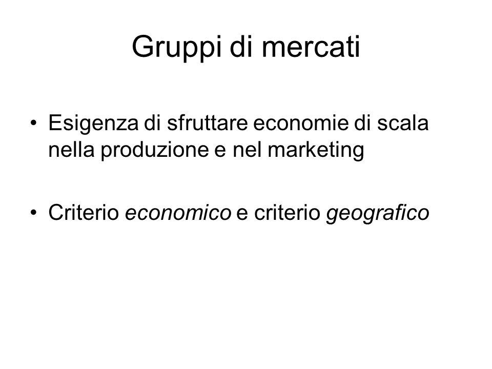 Gruppi di mercati Esigenza di sfruttare economie di scala nella produzione e nel marketing Criterio economico e criterio geografico