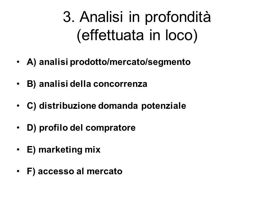 3. Analisi in profondità (effettuata in loco) A) analisi prodotto/mercato/segmento B) analisi della concorrenza C) distribuzione domanda potenziale D)