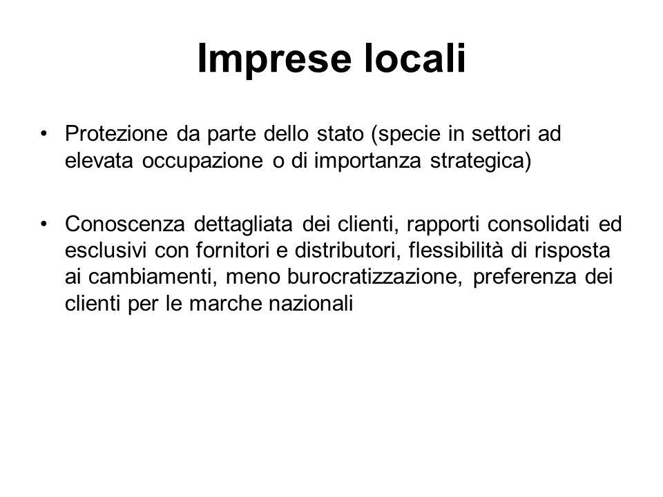 Imprese locali Protezione da parte dello stato (specie in settori ad elevata occupazione o di importanza strategica) Conoscenza dettagliata dei client