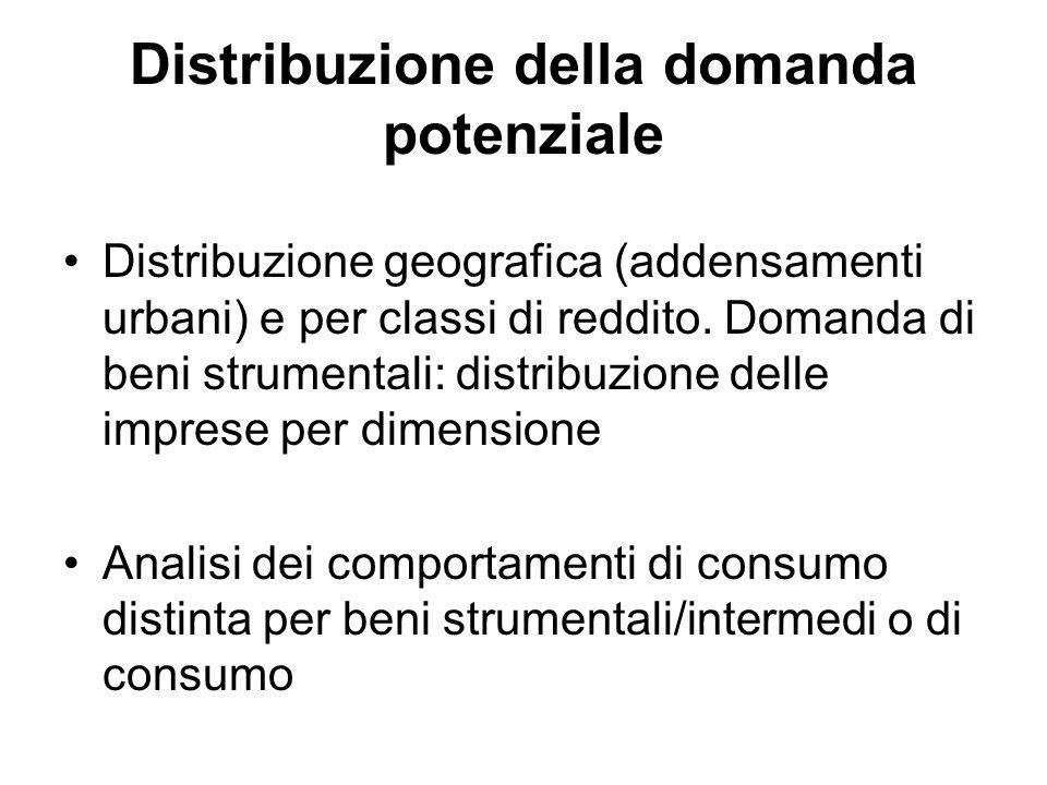 Distribuzione della domanda potenziale Distribuzione geografica (addensamenti urbani) e per classi di reddito. Domanda di beni strumentali: distribuzi