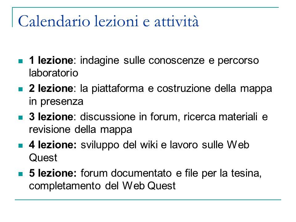 21/10 prima lezione: Illustrazione del percorso del laboratorio Lavoro a coppie in aula sul documento fornito