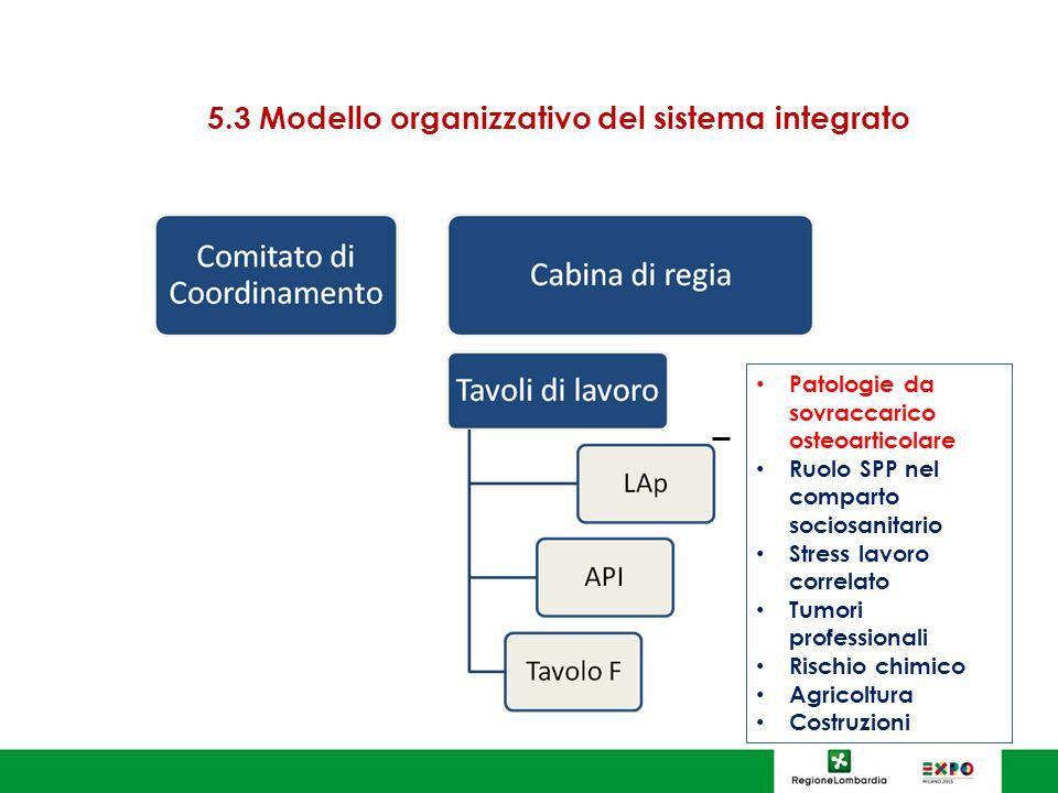 5.3 Modello organizzativo del sistema integrato Patologie da sovraccarico osteoarticolare Ruolo SPP nel comparto sociosanitario Stress lavoro correlato Tumori professionali Rischio chimico Agricoltura Costruzioni