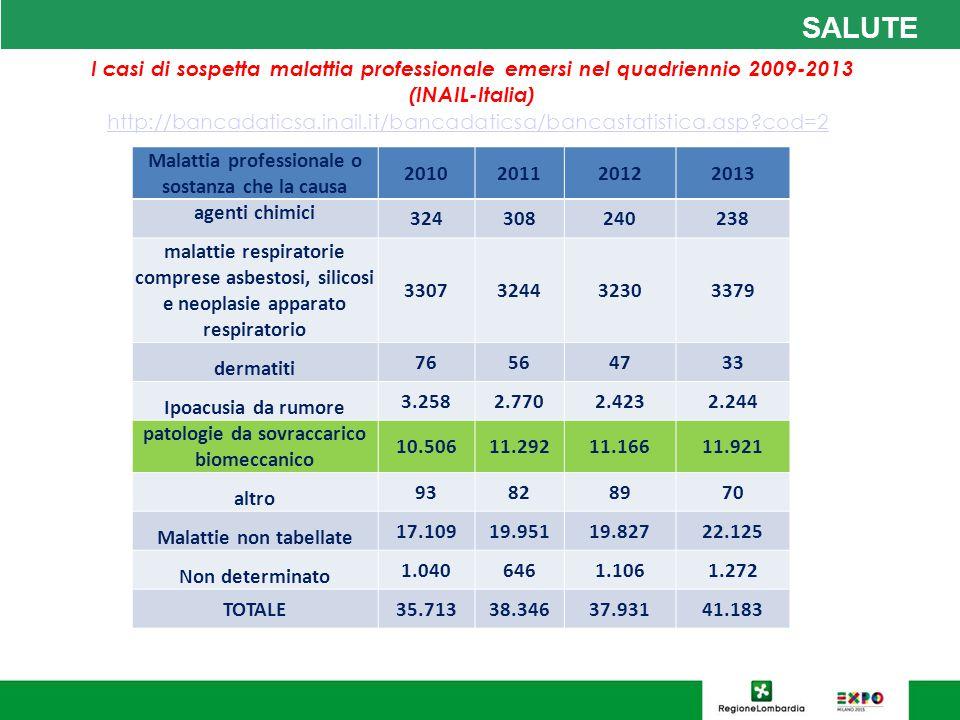 SALUTE I casi di sospetta malattia professionale emersi nel quadriennio 2009-2013 (INAIL-Italia) http://bancadaticsa.inail.it/bancadaticsa/bancastatistica.asp?cod=2 Malattia professionale o sostanza che la causa 2010201120122013 agenti chimici 324308240238 malattie respiratorie comprese asbestosi, silicosi e neoplasie apparato respiratorio 3307324432303379 dermatiti 76564733 Ipoacusia da rumore 3.2582.7702.4232.244 patologie da sovraccarico biomeccanico 10.50611.29211.16611.921 altro 93828970 Malattie non tabellate 17.10919.95119.82722.125 Non determinato 1.0406461.1061.272 TOTALE35.71338.34637.93141.183