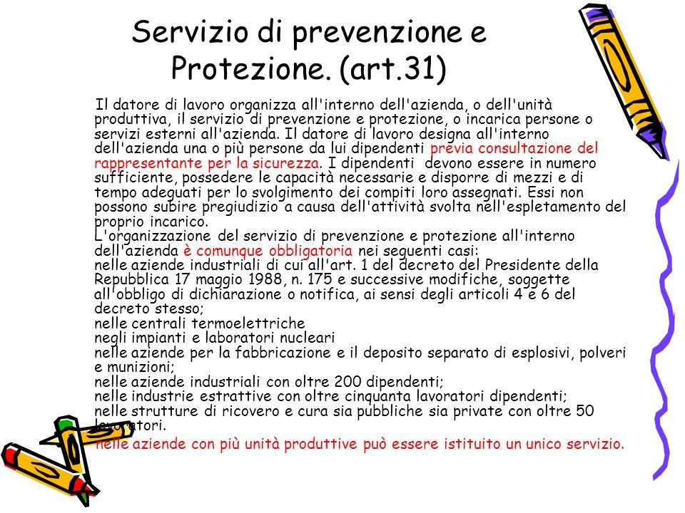 Servizio di prevenzione e Protezione. (art.31) Il datore di lavoro organizza all'interno dell'azienda, o dell'unità produttiva, il servizio di prevenz