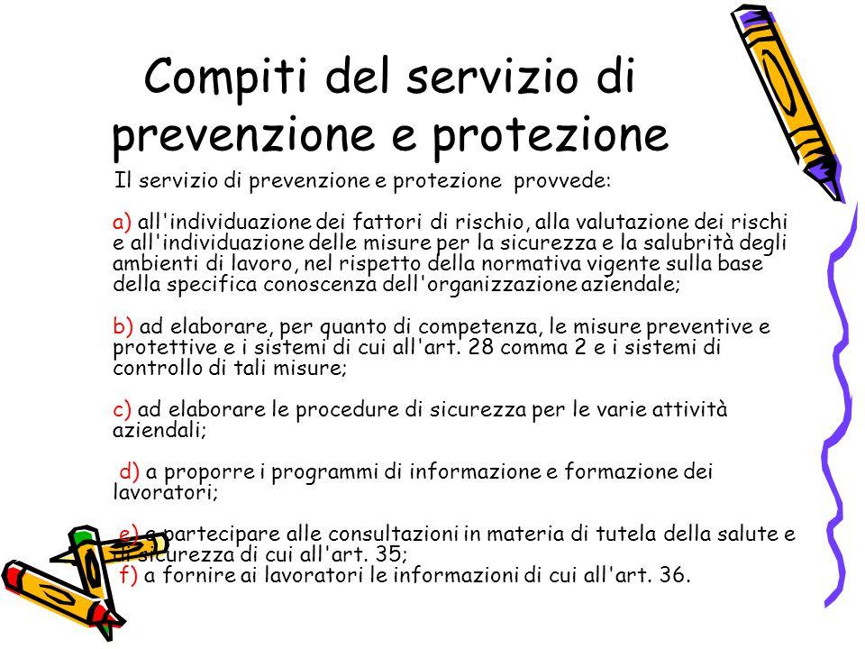 Compiti del servizio di prevenzione e protezione Il servizio di prevenzione e protezione provvede: a) all'individuazione dei fattori di rischio, alla