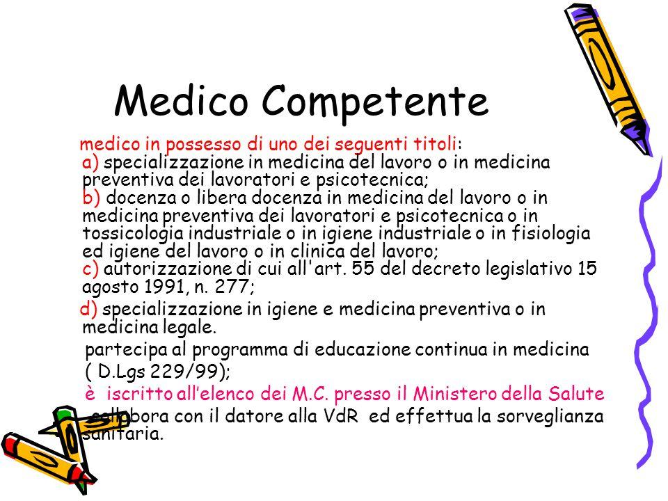 Medico Competente medico in possesso di uno dei seguenti titoli: a) specializzazione in medicina del lavoro o in medicina preventiva dei lavoratori e