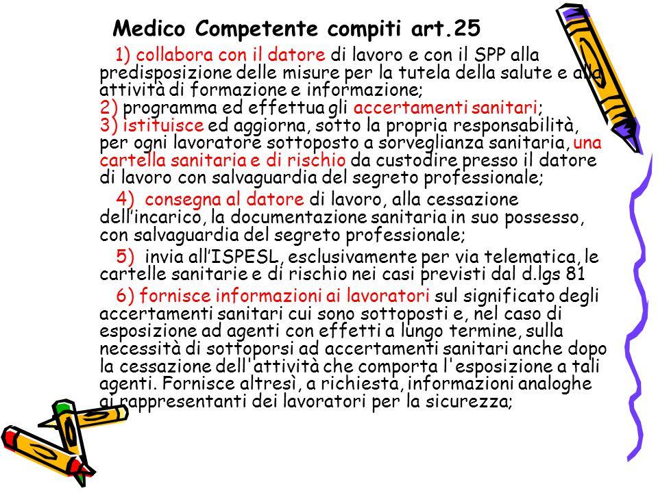 Medico Competente compiti art.25 1) collabora con il datore di lavoro e con il SPP alla predisposizione delle misure per la tutela della salute e alla
