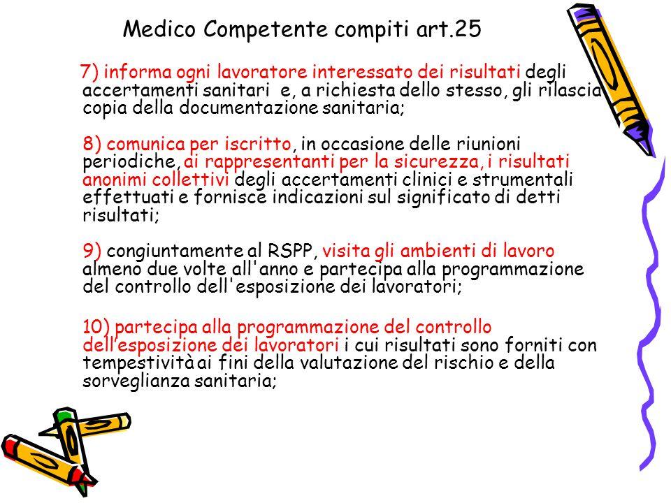 Medico Competente compiti art.25 7) informa ogni lavoratore interessato dei risultati degli accertamenti sanitari e, a richiesta dello stesso, gli ril