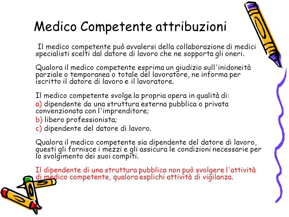 Medico Competente attribuzioni Il medico competente può avvalersi della collaborazione di medici specialisti scelti dal datore di lavoro che ne sopporta gli oneri.