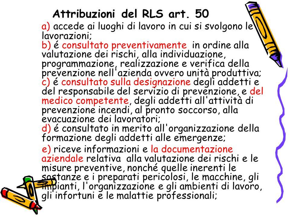 Attribuzioni del RLS art. 50 a) accede ai luoghi di lavoro in cui si svolgono le lavorazioni; b) é consultato preventivamente in ordine alla valutazio