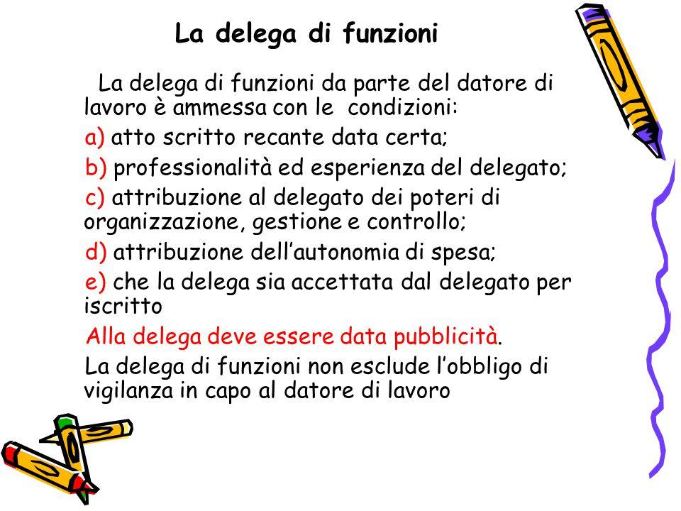 La delega di funzioni La delega di funzioni da parte del datore di lavoro è ammessa con le condizioni: a) atto scritto recante data certa; b) professi