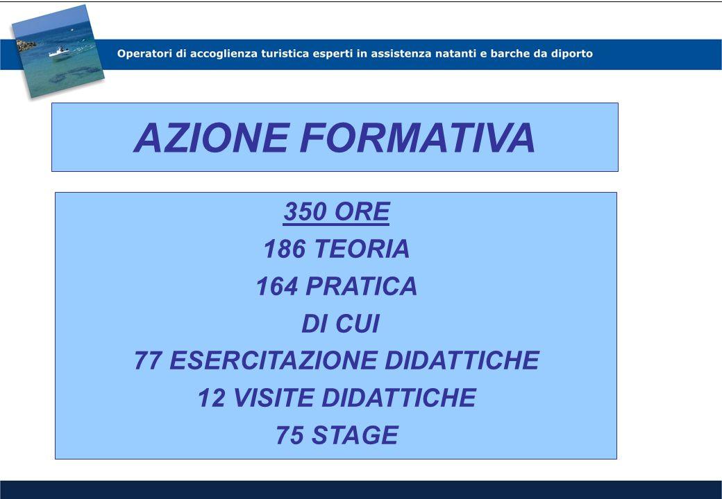 AZIONE FORMATIVA 300 ORE 134 TEORIA 166 PRATICA DI CUI 75 ESERCITAZIONI DIDATTICHE 31 PROJECT WORK 60 STAGE