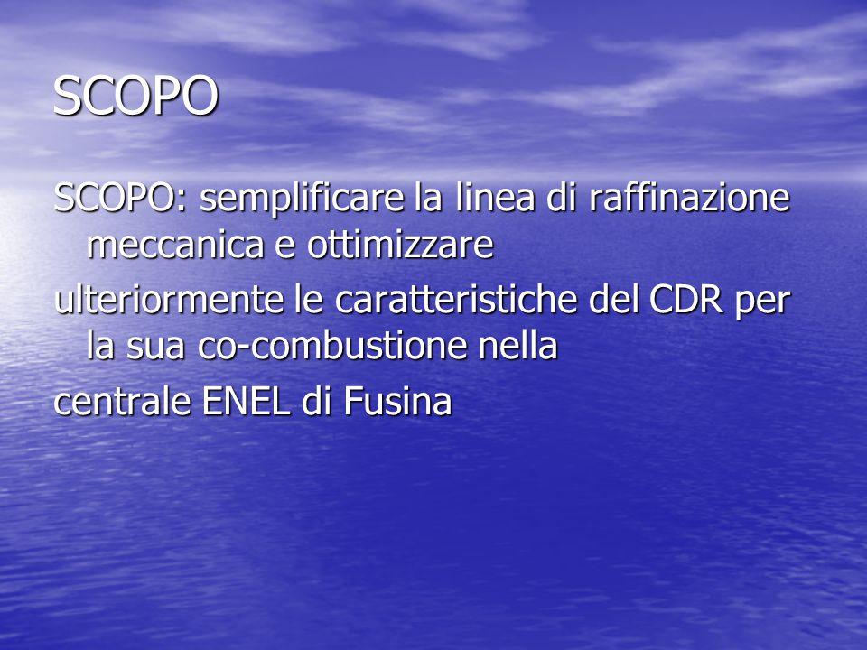 SCOPO SCOPO: semplificare la linea di raffinazione meccanica e ottimizzare ulteriormente le caratteristiche del CDR per la sua co-combustione nella centrale ENEL di Fusina