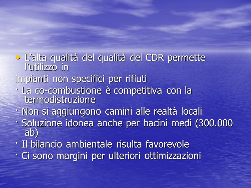 L'alta qualità del qualità del CDR permette l'utilizzo in L'alta qualità del qualità del CDR permette l'utilizzo in impianti non specifici per rifiuti