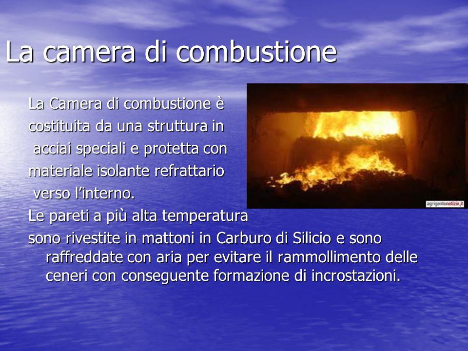 La camera di combustione La Camera di combustione è costituita da una struttura in acciai speciali e protetta con acciai speciali e protetta con materiale isolante refrattario verso l'interno.