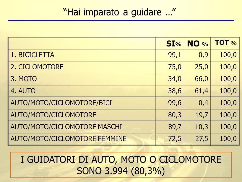 SI % NO % TOT % 1. BICICLETTA99,10,9100,0 2. CICLOMOTORE75,025,0100,0 3. MOTO34,066,0100,0 4. AUTO38,661,4100,0 AUTO/MOTO/CICLOMOTORE/BICI99,60,4100,0