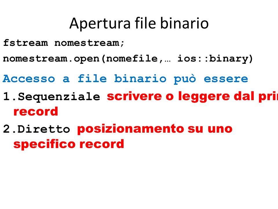 Apertura file binario fstream nomestream; nomestream.open(nomefile,… ios::binary) Accesso a file binario può essere 1.Sequenziale scrivere o leggere dal primo record 2.Diretto posizionamento su uno specifico record
