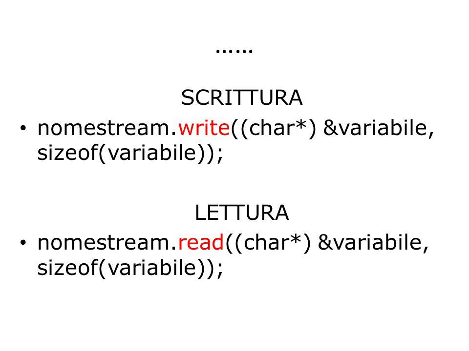 …… SCRITTURA nomestream.write((char*) &variabile, sizeof(variabile)); LETTURA nomestream.read((char*) &variabile, sizeof(variabile));