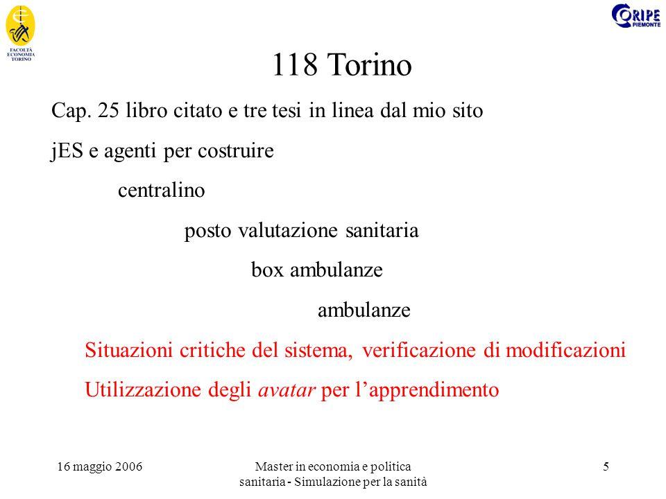 16 maggio 2006Master in economia e politica sanitaria - Simulazione per la sanità 5 118 Torino Cap.