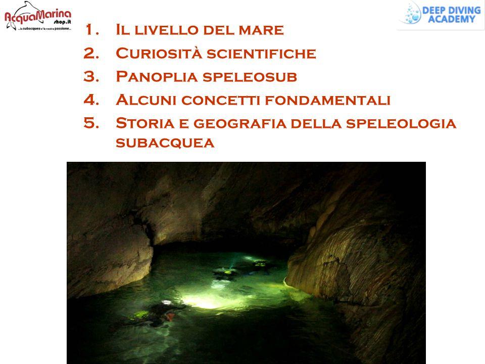 1.Il livello del mare 2.Curiosità scientifiche 3.Panoplia speleosub 4.Alcuni concetti fondamentali 5.Storia e geografia della speleologia subacquea