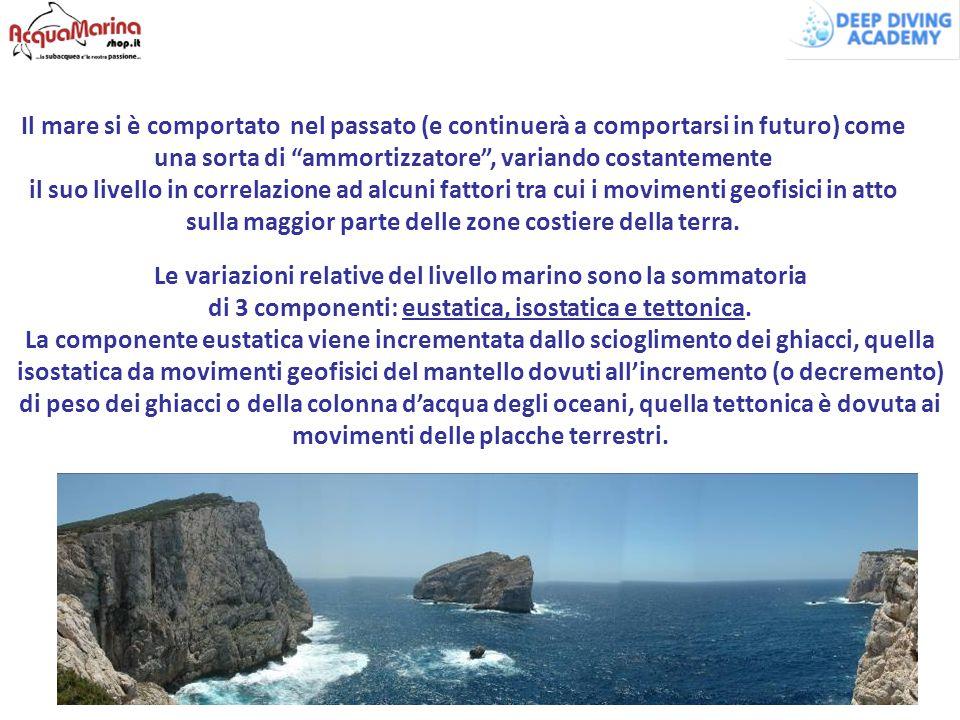 Le variazioni relative del livello marino sono la sommatoria di 3 componenti: eustatica, isostatica e tettonica. La componente eustatica viene increme
