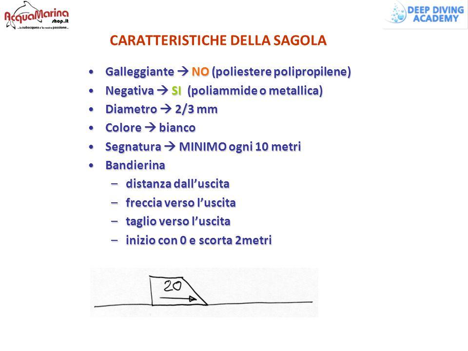 CARATTERISTICHE DELLA SAGOLA Galleggiante  NO (poliestere polipropilene)Galleggiante  NO (poliestere polipropilene) Negativa  SI (poliammide o meta