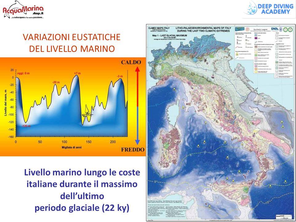 VARIAZIONI EUSTATICHE DEL LIVELLO MARINO Livello marino lungo le coste italiane durante il massimo dell'ultimo periodo glaciale (22 ky)