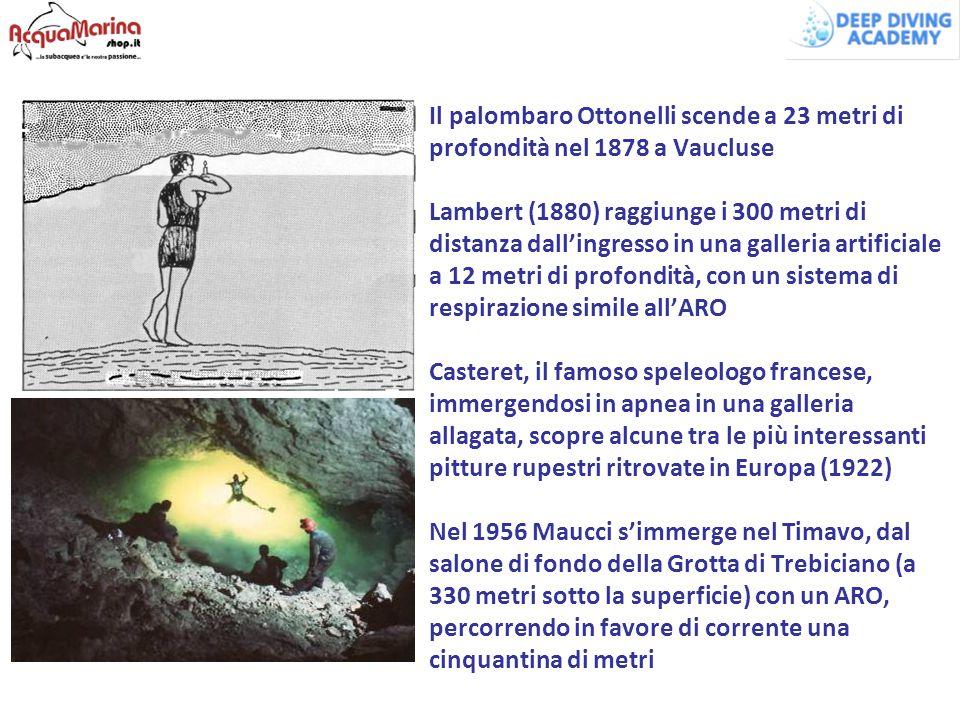 Il palombaro Ottonelli scende a 23 metri di profondità nel 1878 a Vaucluse Lambert (1880) raggiunge i 300 metri di distanza dall'ingresso in una galle