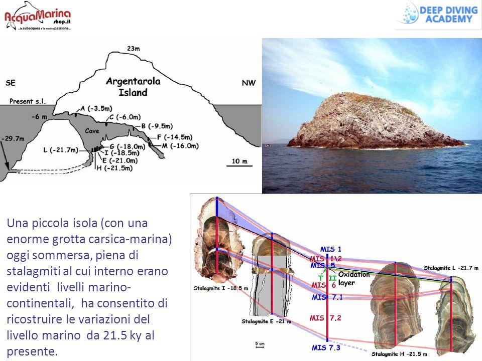 Una piccola isola (con una enorme grotta carsica-marina) oggi sommersa, piena di stalagmiti al cui interno erano evidenti livelli marino- continentali