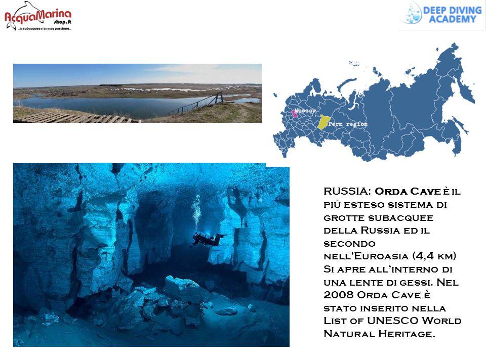 RUSSIA: Orda Cave è il più esteso sistema di grotte subacquee della Russia ed il secondo nell'Euroasia (4,4 km) Si apre all'interno di una lente di ge