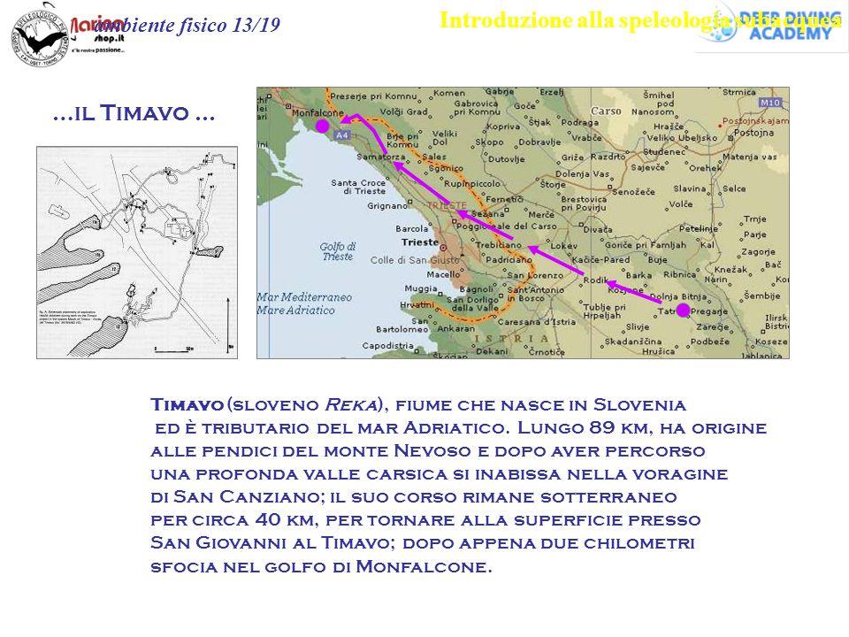 Introduzione alla speleologia subacquea ambiente fisico 13/19 Timavo (sloveno Reka), fiume che nasce in Slovenia ed è tributario del mar Adriatico. Lu