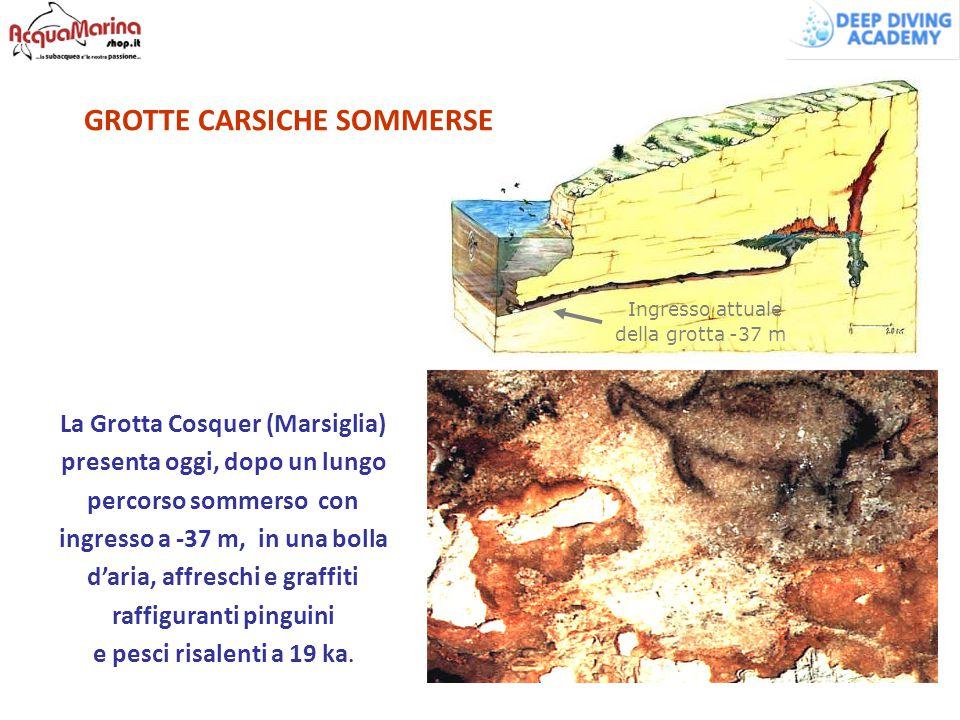 La Grotta Cosquer (Marsiglia) presenta oggi, dopo un lungo percorso sommerso con ingresso a -37 m, in una bolla d'aria, affreschi e graffiti raffigura