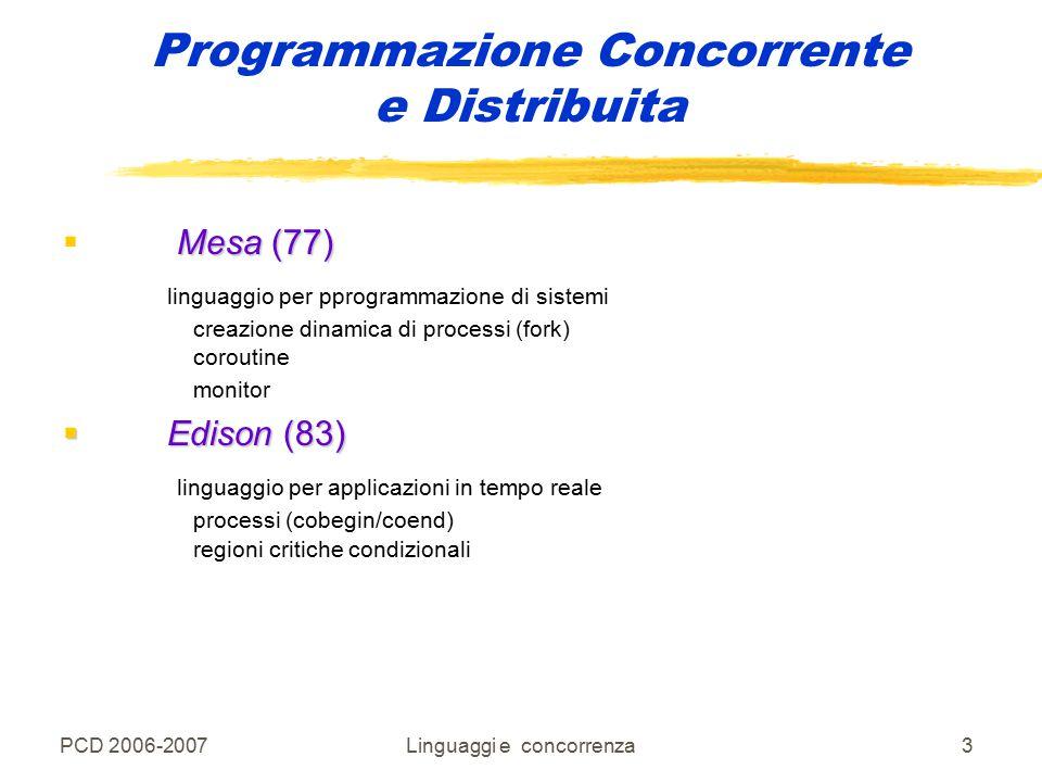 PCD 2006-2007Linguaggi e concorrenza4 Programmazione Concorrente e Distribuita Costrutti monitor in linguaggi di programmazione  Ada La programmazione dei monitor e' semplificata con l'uso di oggetti protetti Si puo' accedere ad un oggetto protetto sono eseguite tramite entry e procedure.