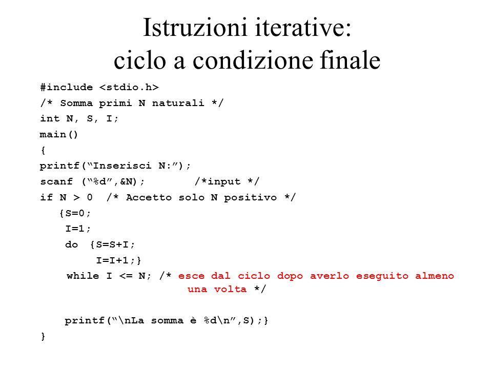 Istruzioni iterative: ciclo a condizione finale #include /* Somma primi N naturali */ int N, S, I; main() { printf( Inserisci N: ); scanf ( %d ,&N); /*input */ if N > 0 /* Accetto solo N positivo */ {S=0; I=1; do {S=S+I; I=I+1;} while I <= N; /* esce dal ciclo dopo averlo eseguito almeno una volta */ printf( \nLa somma è %d\n ,S);} }