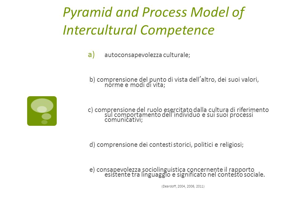 Pyramid and Process Model of Intercultural Competence a) autoconsapevolezza culturale; b) comprensione del punto di vista dell'altro, dei suoi valori,