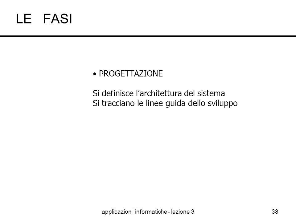 """applicazioni informatiche - lezione 337 ANALISI TECNICA Ora la """"traduzione"""" è verso i tecnici IT Si devono trasformare le specifiche funzionali In un"""