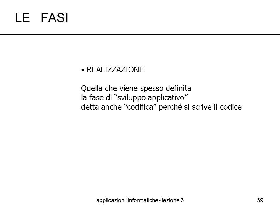 applicazioni informatiche - lezione 338 PROGETTAZIONE Si definisce l'architettura del sistema Si tracciano le linee guida dello sviluppo LE FASI