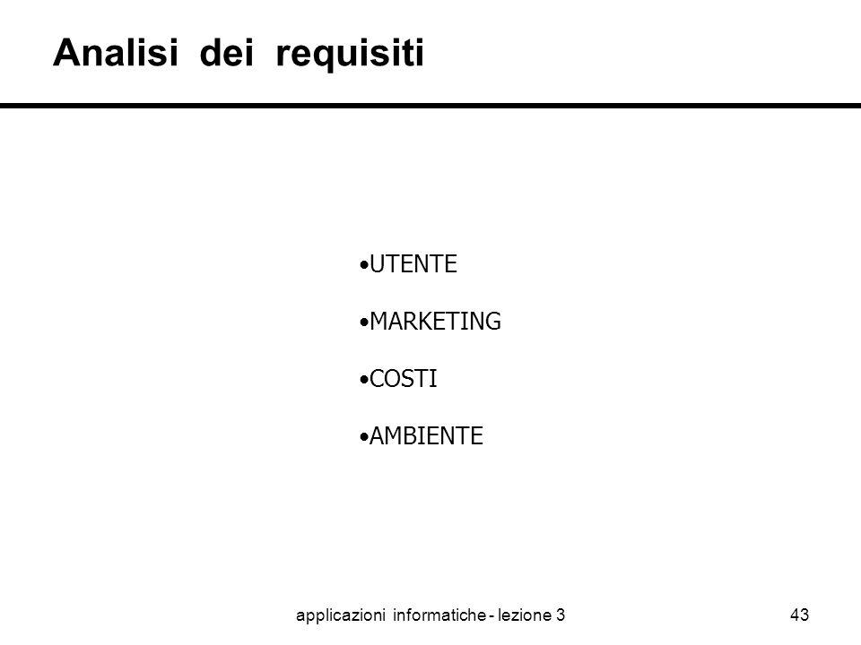 applicazioni informatiche - lezione 342 Il progetto I fattori critici di successo nel processo di progettazione di una Applicazione Informatica le att