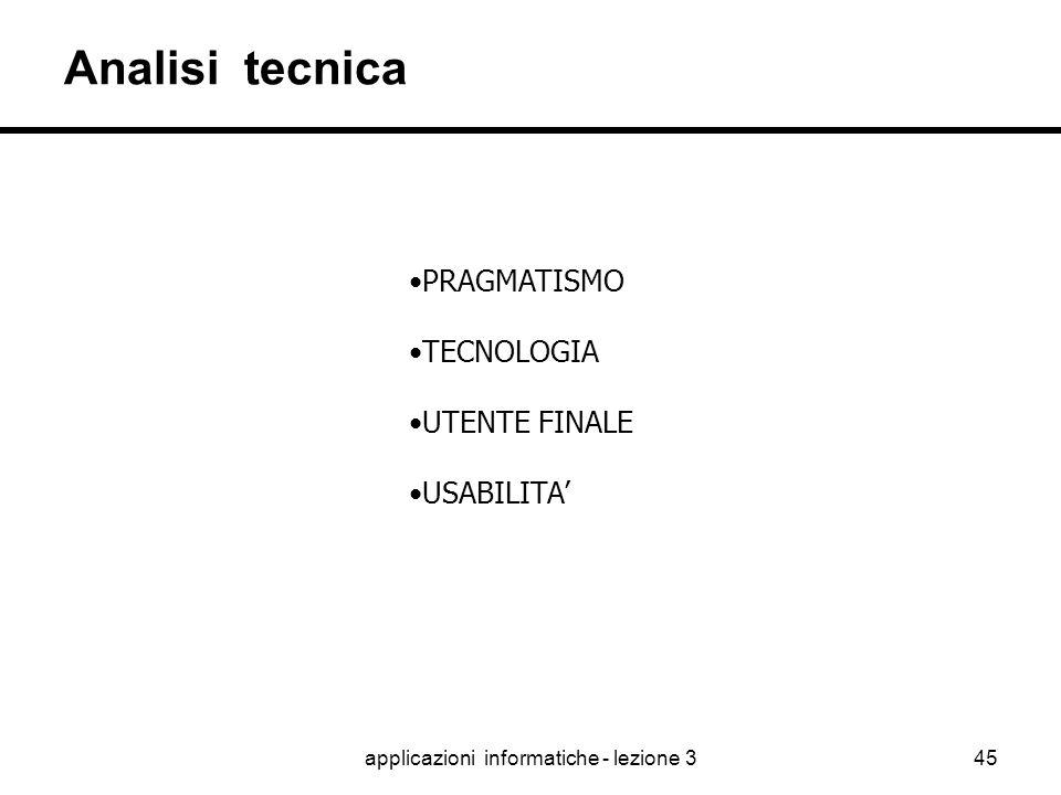 applicazioni informatiche - lezione 344 Analisi funzionale INTERPRETAZIONE MARKETING PSICOLOGIA UTENTE FINALE USABILITA' UTILITA' SUCCESSO