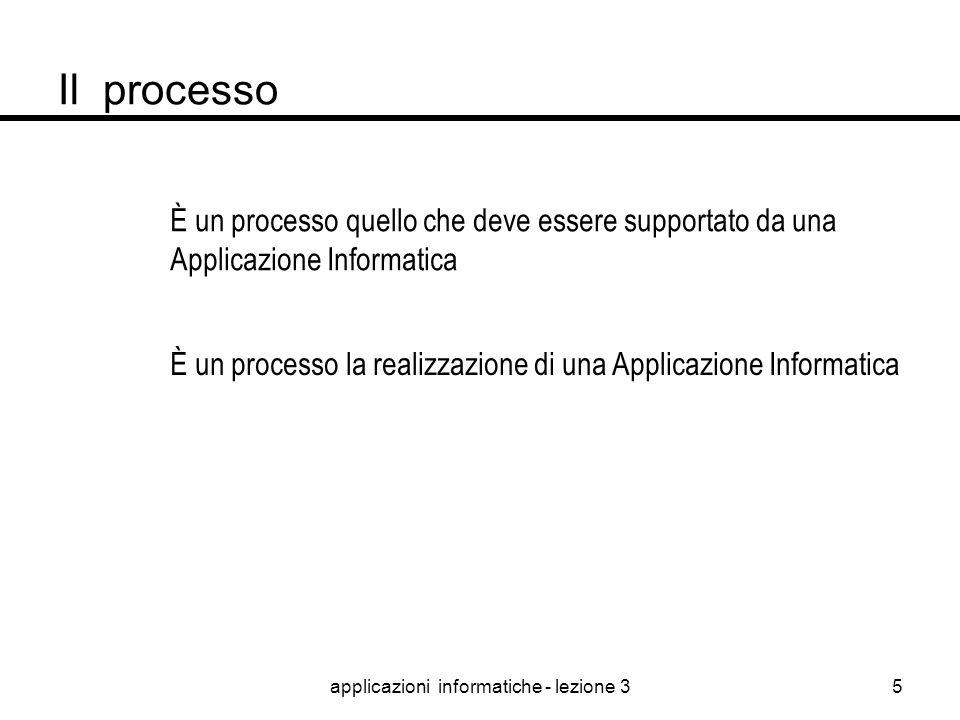 applicazioni informatiche - lezione 34 Il processo Il PROCESSO nel quale si articola la realizzazione di una Applicazione Informatica è una sequenza d