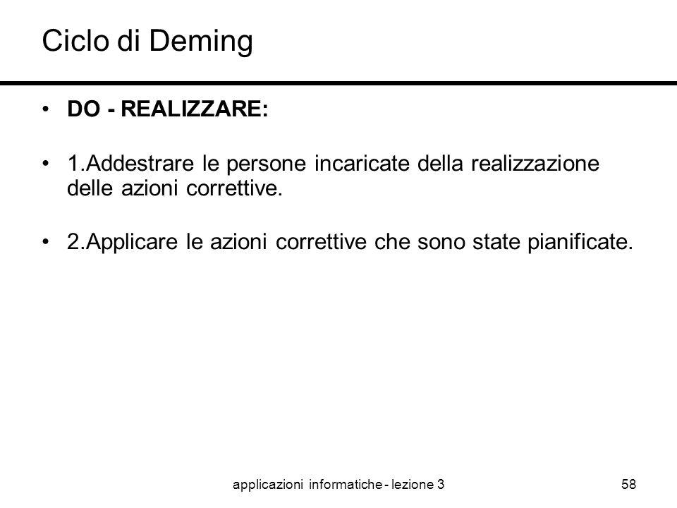 applicazioni informatiche - lezione 357 Ciclo di Deming PLAN - PIANIFICARE: 1.definire il problema/impostazione del progetto; 2.documentazione sulla s
