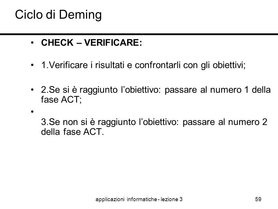 applicazioni informatiche - lezione 358 Ciclo di Deming DO - REALIZZARE: 1.Addestrare le persone incaricate della realizzazione delle azioni correttiv