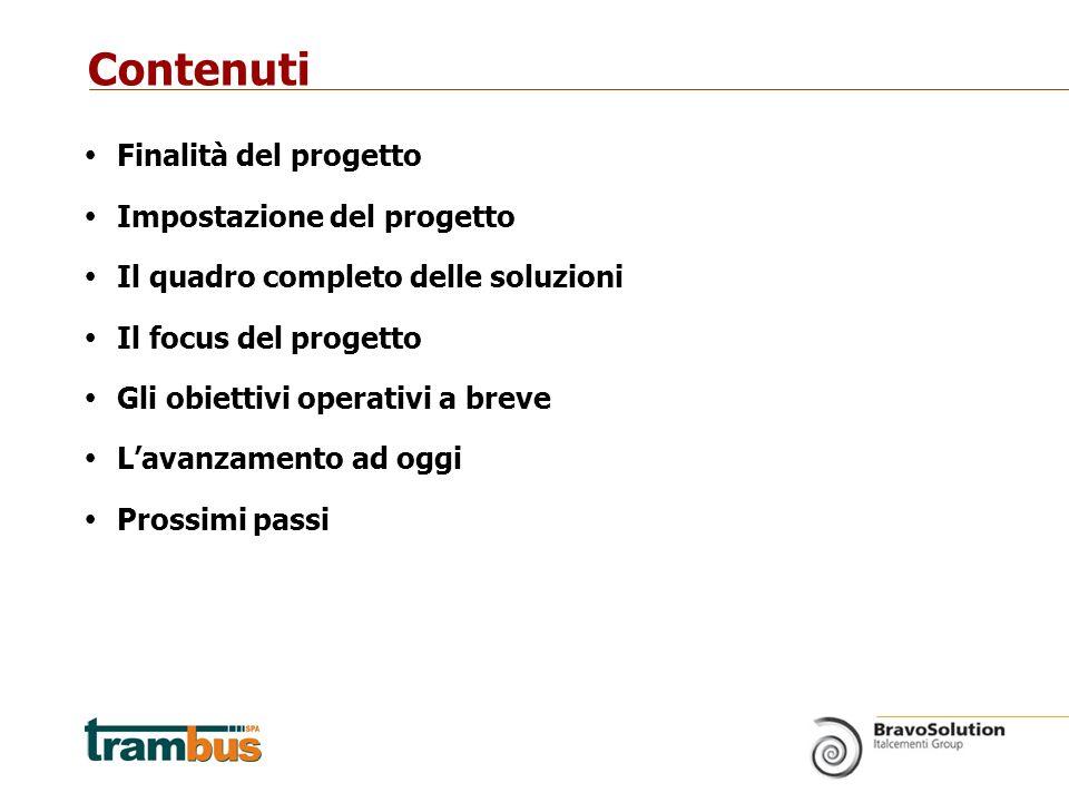  Finalità del progetto  Impostazione del progetto  Il quadro completo delle soluzioni  Il focus del progetto  Gli obiettivi operativi a breve  L'avanzamento ad oggi  Prossimi passi Contenuti