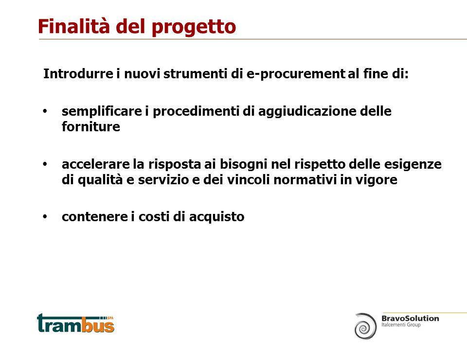 Introdurre i nuovi strumenti di e-procurement al fine di:  semplificare i procedimenti di aggiudicazione delle forniture  accelerare la risposta ai bisogni nel rispetto delle esigenze di qualità e servizio e dei vincoli normativi in vigore  contenere i costi di acquisto Finalità del progetto