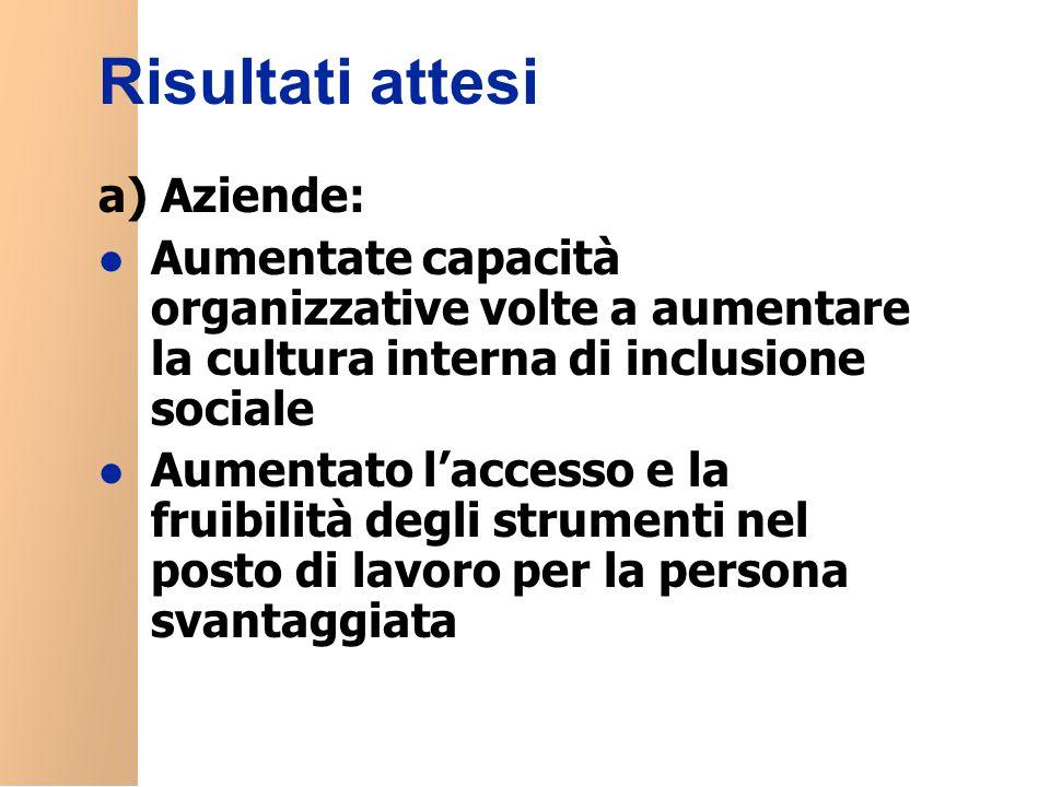 Risultati attesi a) Aziende: l Aumentate capacità organizzative volte a aumentare la cultura interna di inclusione sociale l Aumentato l'accesso e la fruibilità degli strumenti nel posto di lavoro per la persona svantaggiata