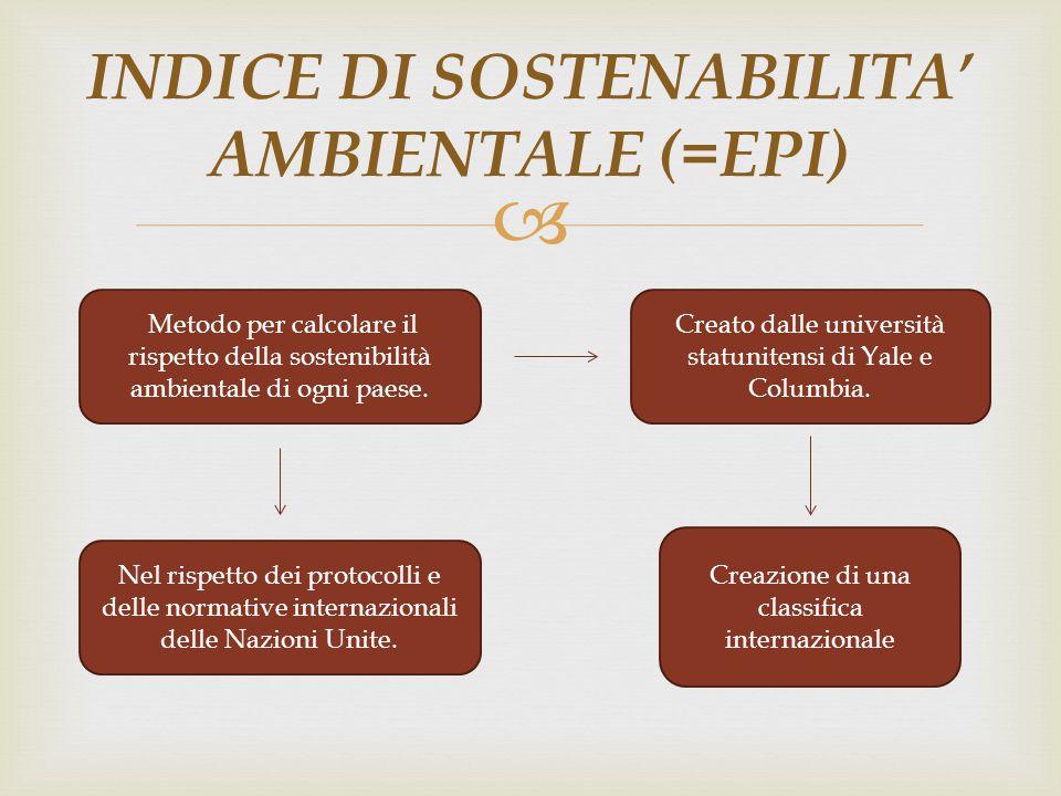  INDICE DI SOSTENABILITA' AMBIENTALE (=EPI) Metodo per calcolare il rispetto della sostenibilità ambientale di ogni paese. Creato dalle università st