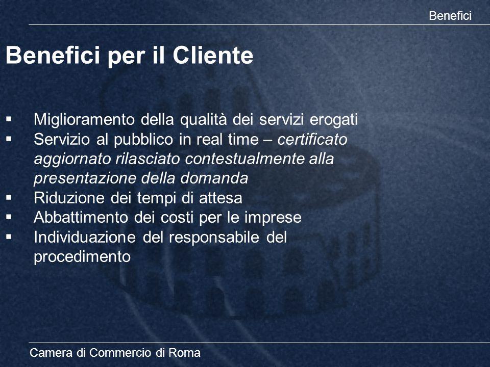 Camera di Commercio di Roma Benefici per il Cliente Benefici  Miglioramento della qualità dei servizi erogati  Servizio al pubblico in real time – c