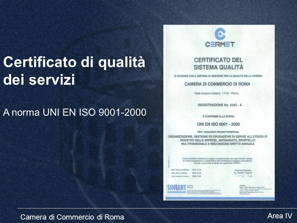 Certificato di qualità dei servizi A norma UNI EN ISO 9001-2000 Camera di Commercio di Roma Area IV