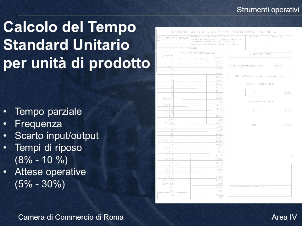 Camera di Commercio di Roma Area IV Calcolo del Tempo Standard Unitario per unità di prodotto Tempo parziale Frequenza Scarto input/output Tempi di ri