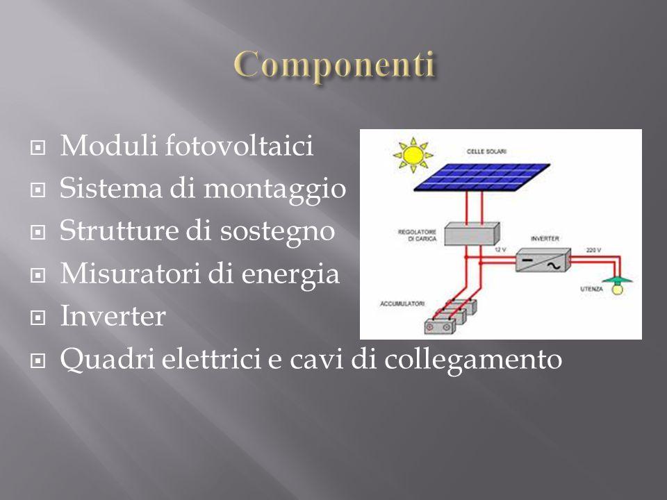  Moduli fotovoltaici  Sistema di montaggio  Strutture di sostegno  Misuratori di energia  Inverter  Quadri elettrici e cavi di collegamento